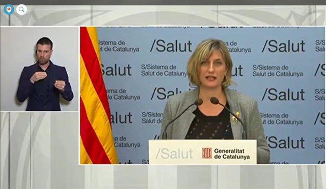 Rueda de prensa telemática de la consellera de Salud de la Generalitat, Alba Vergés, sobre el coronavirus