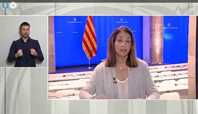Rueda de prensa telemática de la consellera de la Presidencia y portavoz de la Generalitat, Meritxell Budó, sobre el coronavirus