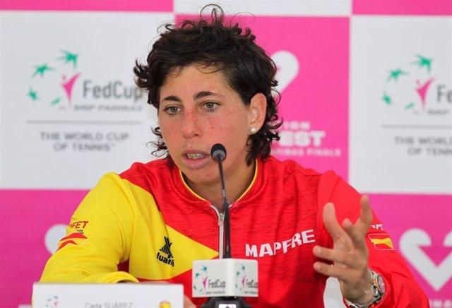 Carla Suárez en una rueda de prensa de la Fed Cup
