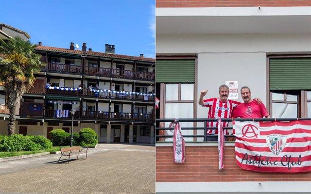 Las aficiones de Athletic y Real Sociedad viven su final de Copa del Rey en los balcones.