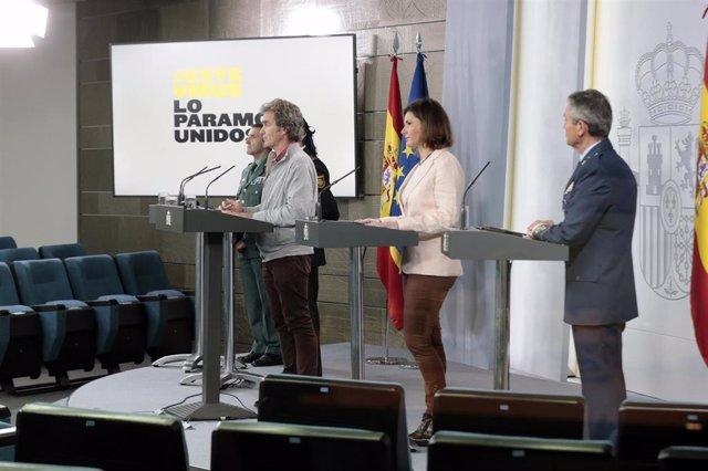 rueda de prensa convocada por el Comité Técnico del Covid-19 para informar sobre las últimas novedades respecto a la crisis sanitaria. En Madrid, (España), a 18 de abril de 2020.