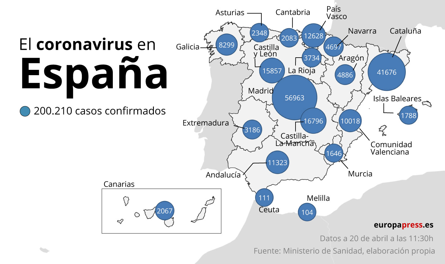 El coronavirus en España, por CCAA
