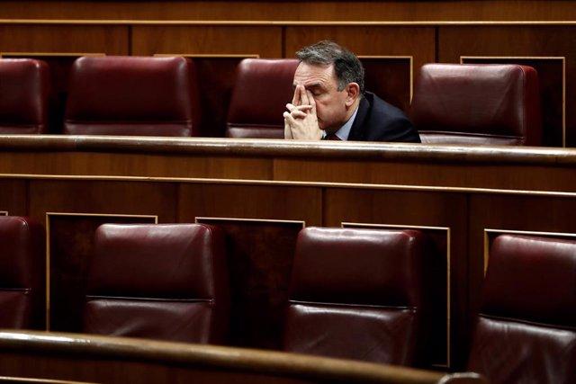 El diputado de Unidas Podemos-En Comú Podem-Galicia en Común Enrique Santiago, durante un Pleno del Congreso