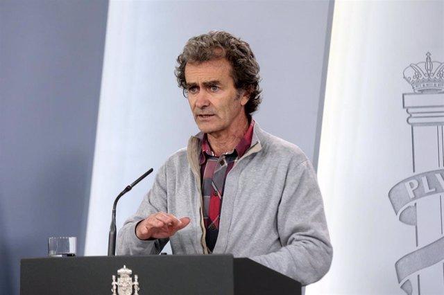 El director del Centro de Coordinación de Alertas y Emergencias Sanitarias del Ministerio de Sanidad, Fernando Simón, en una de las ruedas de prensa diarias para informar sobre las últimas novedades respecto a la crisis sanitaria
