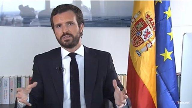 Comparecencia de Pablo Casado tras reunirse con Sánchez por videoconferencia