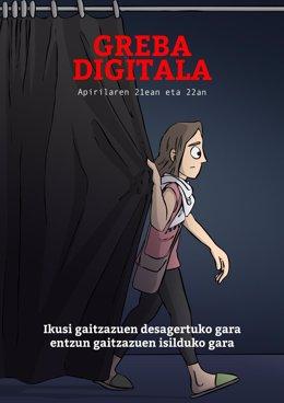 Cartel relativo a la huelga digital que llama a no compartr contenidos culturales  los días 21 y 22 de abril