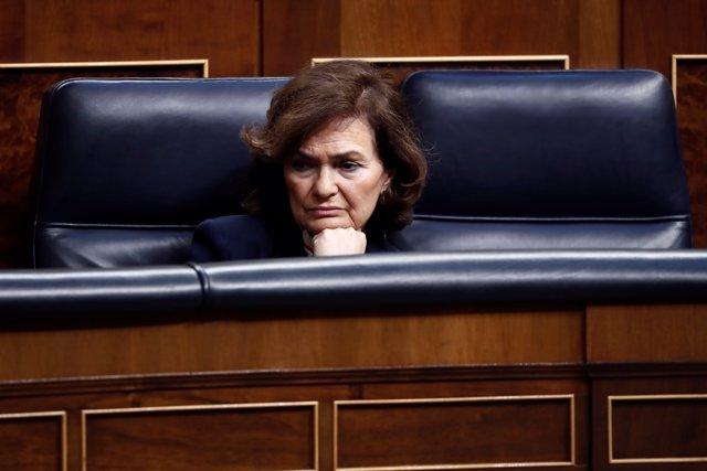 La vicepresidenta del Gobierno, Carmen Calvo,, en Madrid (España), a 18 de marzo de 2020.