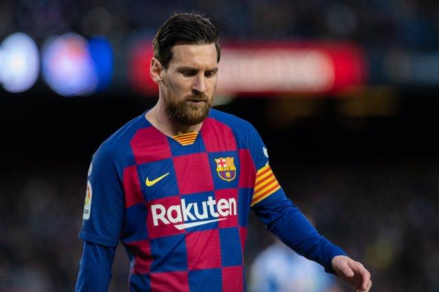 El jugador del FC Barcelona Lionel Messi en el partido de LaLiga Santander contra la Real Sociedad en el Camp Nou