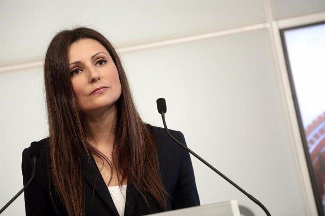 La líder de Cs a Catalunya, Lorena Roldán, en roda de premsa.