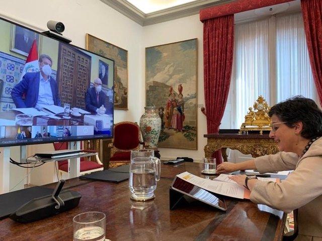 Videoconferencia de la ministra de Exteriores, Arancha Gonzáles Laya, con sus homólogos de siete países de Iberoamérica para compartir iniciativas sobre la pandemia de Covid-19