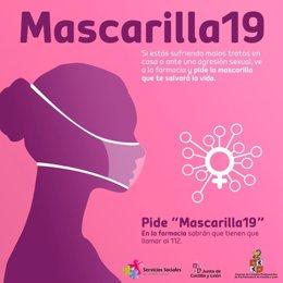 Cartel anunciador de la campaña 'Mascarilla 19' que se van a poner en marcha en las farmacias palentina.