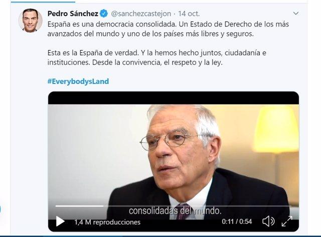 Tuit del presidente del Gobierno en funciones, Pedro Sánchez, sobre la campaña #EverybodysLand