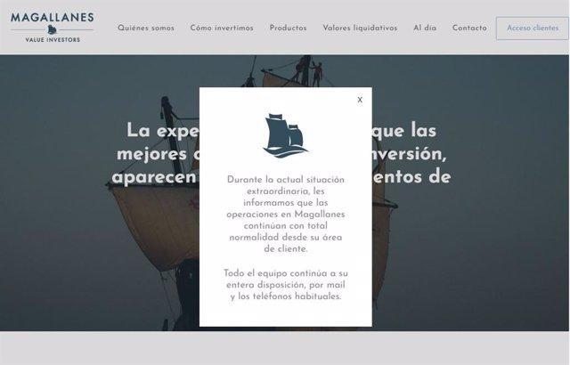 La web de la gestora Magallanes