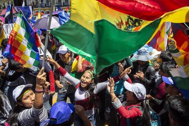 Imgen de archivo de seguidores de Evo Morales durante las protestas registradas en octubre de 2019 tras las elecciones.