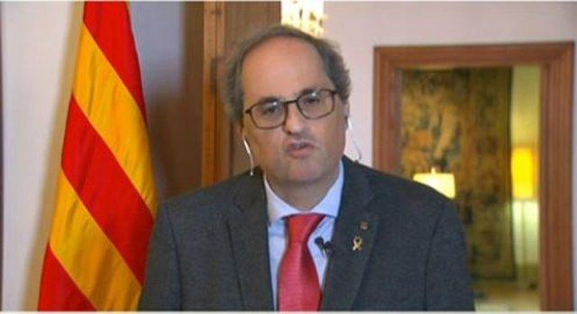 El president de la Generalitat, Quim Torra, compareix després de la sisena videoconferència de presidents autonòmics pel coronavirus, a data 19 d'abril de 2020.