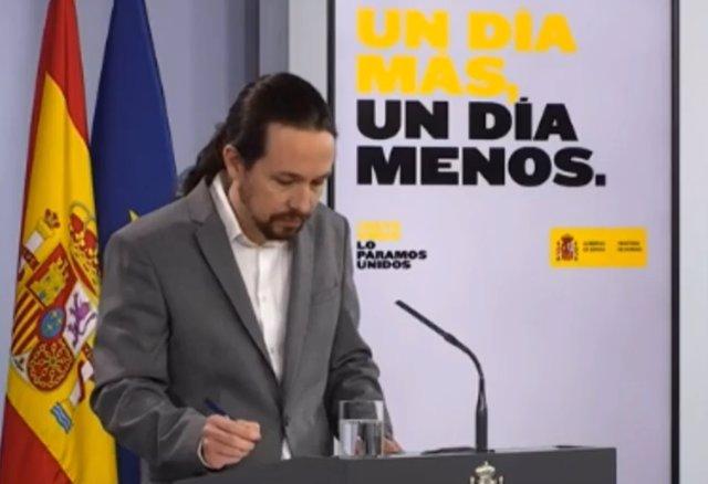 Rueda de prensa del vicepresidente segundo, Pablo Iglesias