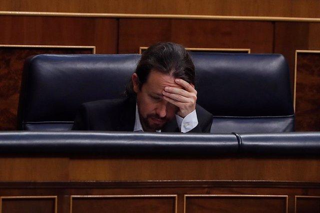 El vicepresident del Govern central, Pablo Iglesias durant el ple del Congrés