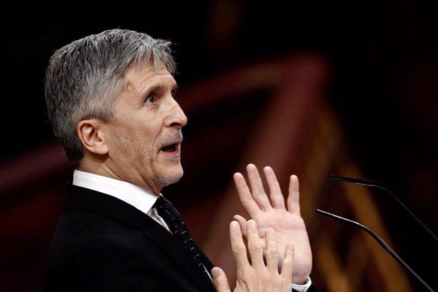El ministro del Interior, Fernando Grande-Marlaska, durante el pleno celebrado este miércoles en el Congreso