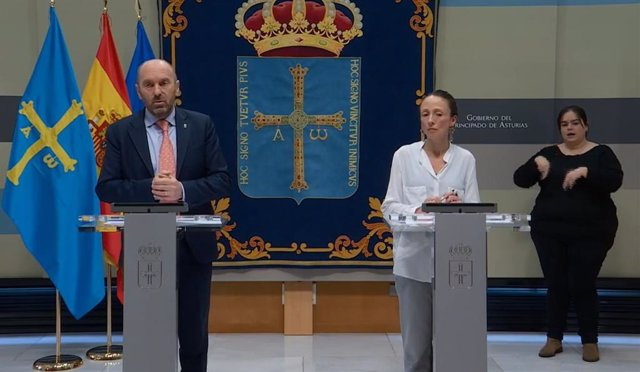 Rueda de prensa telemática del vicepresidente del Gobierno asturiano, Juan Cofiño, y la portavoz del Principado, Melania Álvarez, tras el Consejo de Gobierno.
