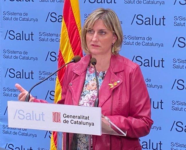 La consellera de Salut de la Generalitat, Alba Vergés, durant la roda de premsa telemàtica