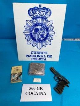 Objetos requisados por la Policía Nacional a tres personas en Linares (Jaén).