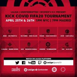 Fútbol.- Jugadores de LaLiga, NBA, NFL y NWSL jugarán en el Kick Covid FIFA 20 p