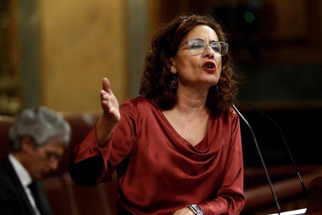 La portavoz del Gobierno y titular de Hacienda, María Jesús Montero, interviene en el pleno celebrado este miércoles en el Congreso,