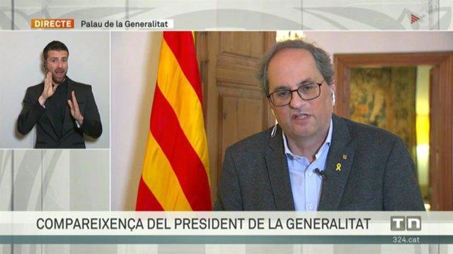 El presidente de la Generalitat, Quim Torra, comparece tras el Consell Executiu extraordinario