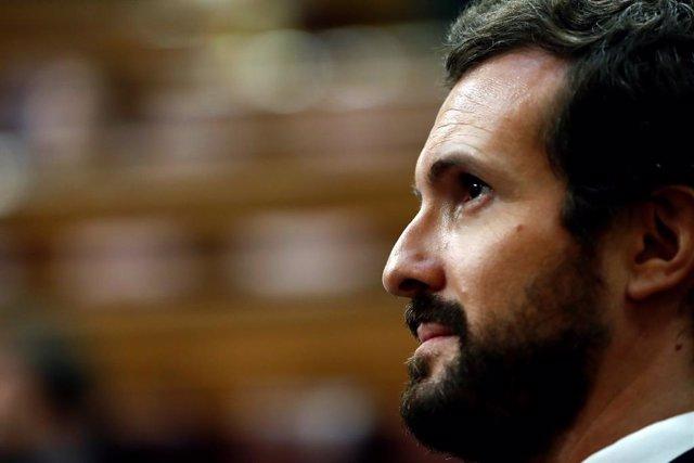 El president del PP, Pablo Casado, participa en el ple del Congrés. Madrid, (Espanya), 22 d'abril del 2020.