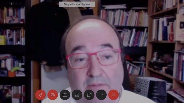 El primer secretari del PSC, Miquel Iceta, en videoconferència