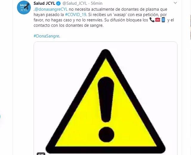 Tuit del perfil de Sanidad de Castilla y León en el que se desmiente que el Chemcyl necesite plasma de personas que hayan pasado COVID-19.