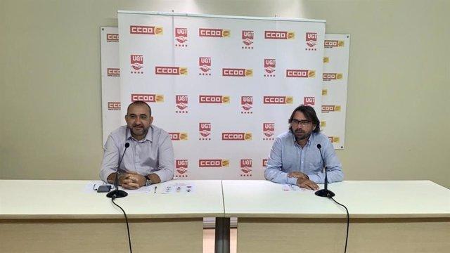 Els secretaris generals de CC.OO. I UGT de Catalunya, Javier Pacheco i Camil Ros, aquest dilluns