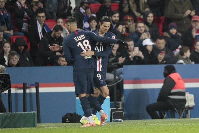 Edinson Cavani en un partit entre el Paris Saint-Germain i l'AS Saint-Etienne, el 8 de gener del 2020.