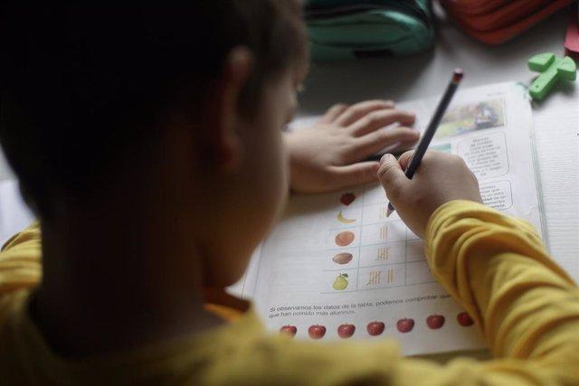 Un niño estudia y hace los deberes en casa