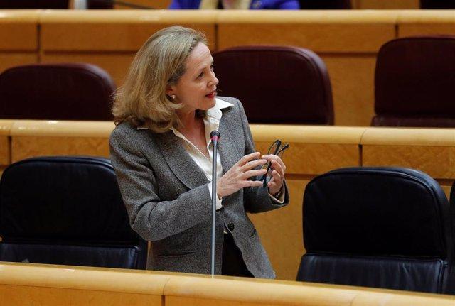 La Ministra de Asuntos Económicos y de Transformación Digital y vicepresidenta tercera del Gobierno, Nadia Calviño, en Madrid (España) a 21 de abril de 2020.