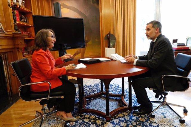 El Rey con la secretaria general iberoamericana, Rebeca Grynspan