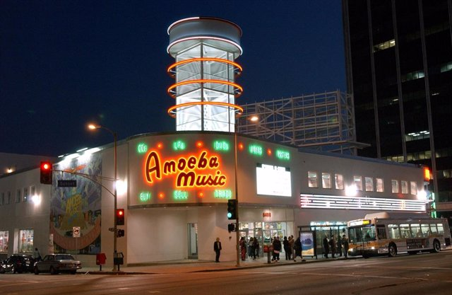 An exterior view of Amoeba Music in Los Angeles, CA.