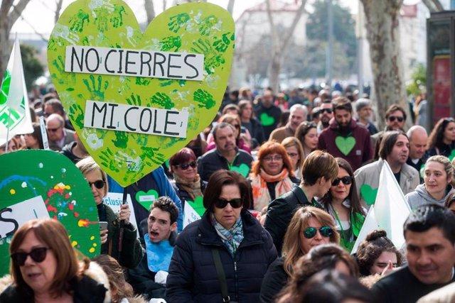 Manifestación en Valladolid el año pasado contra el cierre de centros de educación especial.