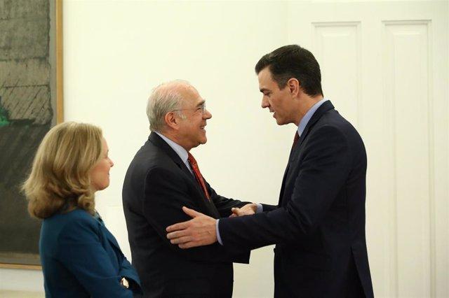 Pedro Sánchez y Ángel Gurría (OCDE) se reúnen para hablar del impacto del coronavirus en la economía