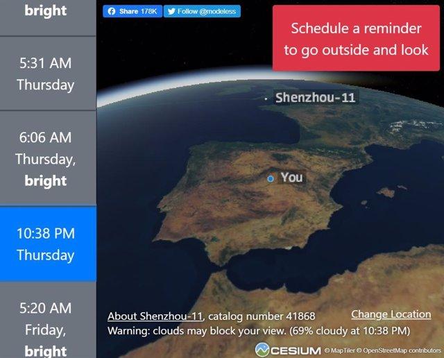 Esta web te dice qué satélites puedes ver esta noche en el cielo y sin telescopi
