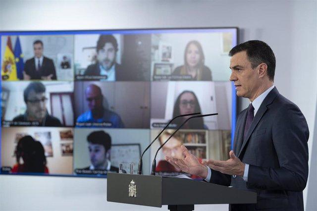Comparecencia del presidente del Gobierno, Pedro Sánchez, para abordar la crisis del coronavirus. En Madrid, (España), a 25 de abril de 2020.