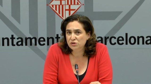 La alcaldesa de Barcelona, Ada Colau, en rueda de prensa telemática
