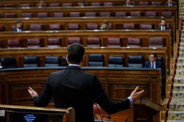 El presidente del Gobierno, Pedro Sánchez (c), interviene en una sesión de control al Gobierno en el Congreso de los Diputados, este miércoles, en Madrid (España), a 29 de abril de 2020.
