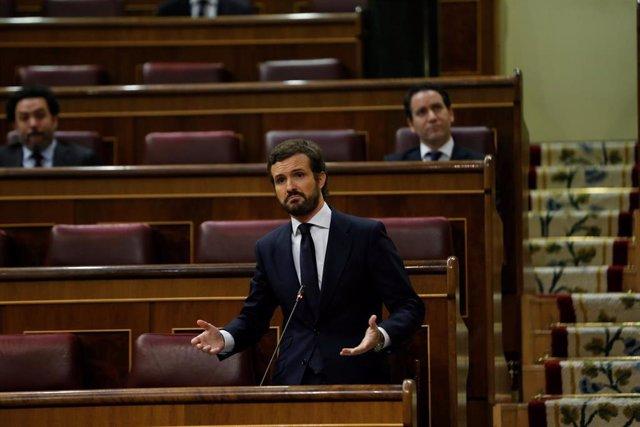 El presidente del Partido Popular, Pablo Casado durante su intervención en el pleno de control al Ejecutivo celebrado en el Congreso este miércoles. En Madrid (España), a 29 de abril de 2020.