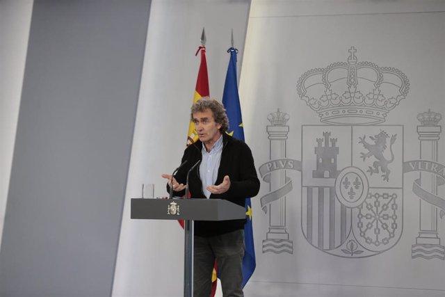 El director del Centro de Coordinación de Alertas y Emergencias Sanitarias, Fernando Simón, durante la comparecencia tras el Comité técnico de seguimiento del coronavirus. En Madrid, (España), a 28 de abril de 2020.