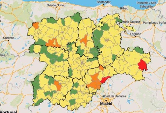 En verde, las zonas básicas de salud que no han registrado casos de Coronavirus en los últimos siete días (datos del 29 de abril).