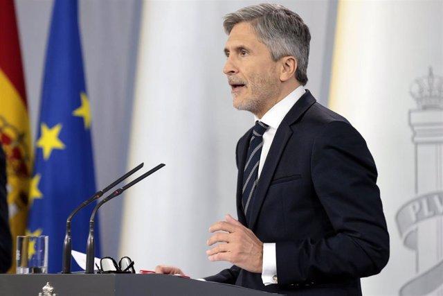 El ministro del Interior, Fernando Grande-Marlaska, en rueda de prensa en Madrid (España) a 29 de abril de 2020.