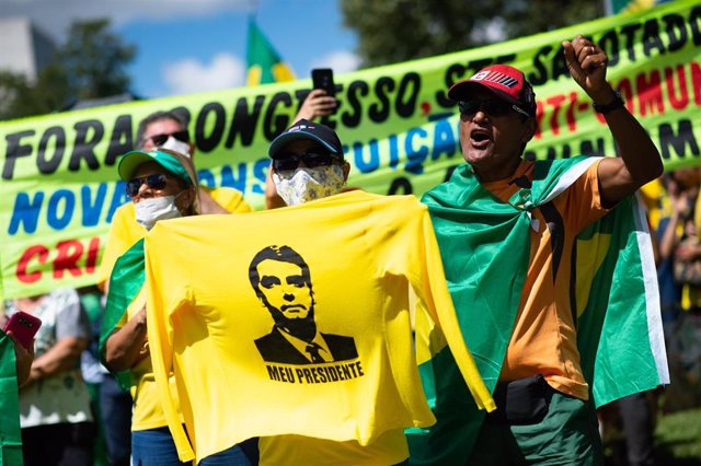 Seguidores de Jair Bolsonaro en Brasilia