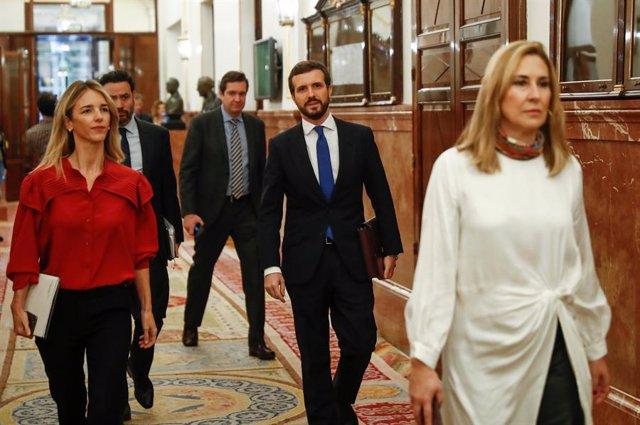 La portavoz del Grupo Popular, Cayetana Álvarez de Toledo, y el líder del PP, Pablo Casado