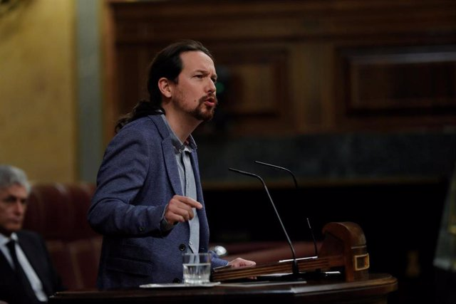 El vicepresidente segundo del Gobierno, Pablo Iglesias, responde a la interpelación de Vox en la que pedía que el Gobierno explique las medidas que ha adoptado para proteger a la población de mayor edad. En Madrid (España), a 29 de abril de 2020.